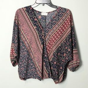 Poetry faux wrap blouse top size large